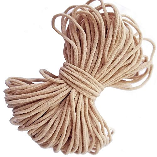Beige Elastic String Cord Earloop Bands for Face Masks Making Supplies Sewing Craft Project String Trim for Crafting Thin Soft & Stretchy 20YARD