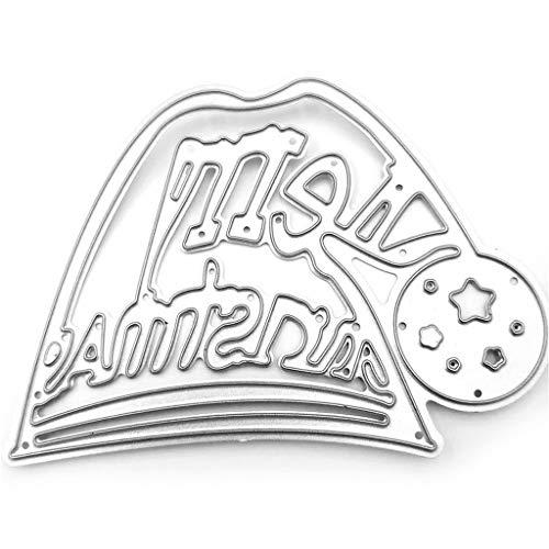 Fafalloagrron Metallstanzschablone, Weihnachtsmütze, zum Basteln, für Scrapbooking, Karten, Prägung, Basteln und Dekorieren