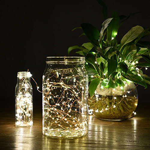 Goodia Starry String Lights Solar Powered, Copper Wire String Lights 49ft 150 Micro LEDs Fairy Lights for Party Wedding Bedroom Christmas Tree, Warm White