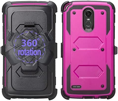 GALAXY WIRELESS Compatible for LG Stylo 3/Stylo 3 Plus Case Heavy Duty Belt Clip Holster, Full Body Coverage [Built in Screen Protector] Phone Case, Purple