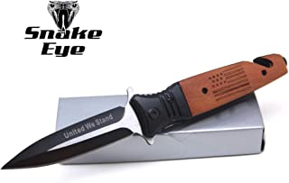 Snake Eye Tactical Everyday Carry Wood Handle United We Stand Ultra Smooth One Hand Opening Folding Pocket Knife - Ideal for Recreational Work Hiking Camping