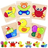 Wooden Shape Puzzles, Animals Jigsaw Toys Montessori Learning Educational Preschool Toy for 1 2 3 Years Old Kids, 6 Pack Gift Box by Flyingseeds