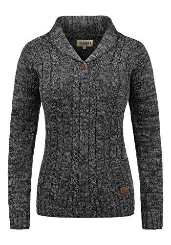 DESIRES Philis Damen Winter Strickpullover Troyer Grobstrick Pullover mit Schalkragen, Größe:S, Farbe:Black (9000)
