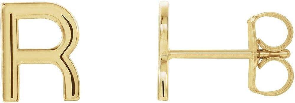 Single Each Earring Sold Seperately Alphabet Initial Letter R Stud Earring
