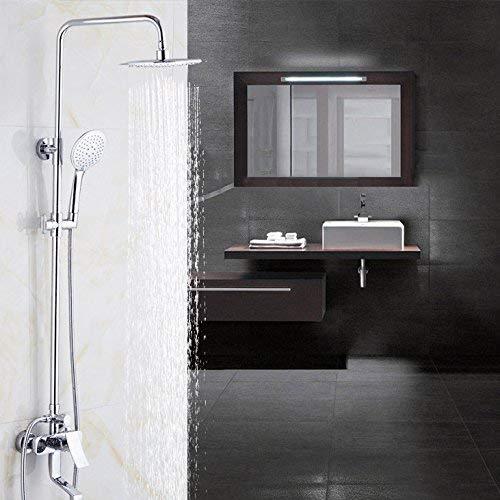 IREANJ Juegos de bañera grifo cromado acabado montaje en pared 8 'gran lluvia ducha mezclador grifo baño ajustar altura ducha mano bañera mezclador grifo 9199, baño cromado
