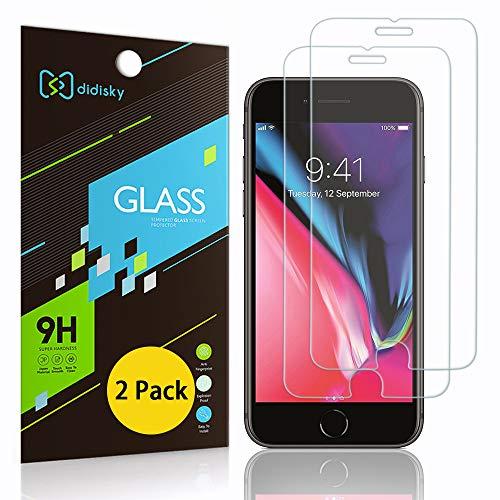 Didisky Protector de pantalla de cristal templado para iPhone 6 Plus / 7 Plus / 8 Plus, 2 unidades, con tacto suave, fácil de limpiar, fácil de instalar, transparente