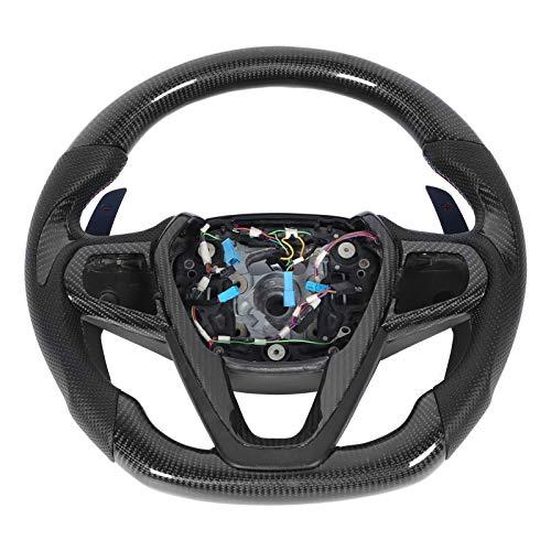 Volante de coche, volante de fibra de carbono, volante de carreras con costura tricolor de cuero preforado Nappa, volante a la deriva