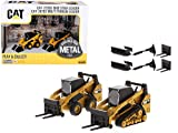 Set of 2 Pieces CAT Caterpillar 272D2 Skid Steer Loader and CAT Caterpillar 297D2 Multi Terrain Track Loader with Accessories 1/64 Diecast Models by Diecast Masters 85609