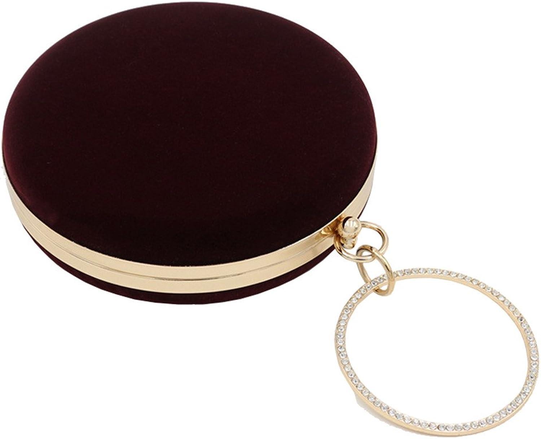 Missfiona Womens Velvet Round Clutch Evening Handbag with Jeweled Ring Top-Handle