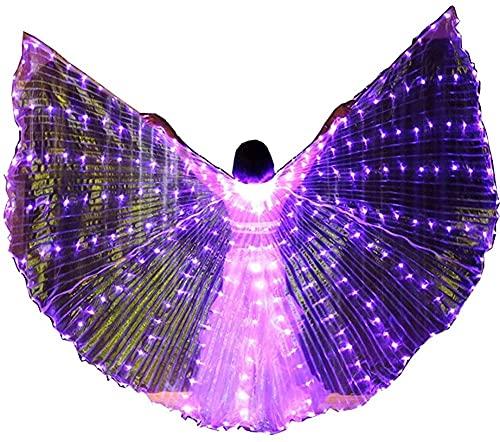 wsbdking DIRIGIÓ ISIS Wings ADULTURADOR ADULTIVO IRIDESCENTE Danza Danza Danza Buenca Danza DIRIGIÓ Alas de ISIS con Palos/Varillas (Color: luz púrpura)