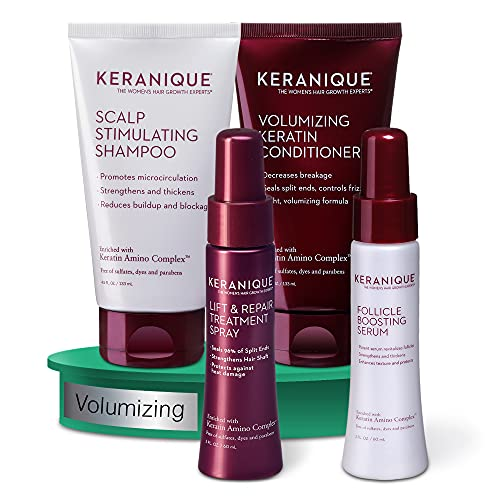 Volumizing Hair Growth System by Keranique includes Keratin Shampoo, Conditioner, Follicle Boosting Hair Growth Serum and Instant Volume Lift and Repair Treatment Spray Paraben Sulfate Free