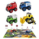 BerrysParadise Take Apart Trucks with Play Mat, Construction Toys with 6 Road Signs Play mat Gift Toys for 3 4 5 6 Kids Boys Girls