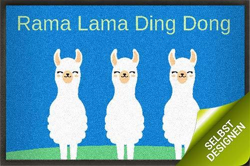 mymat Fußmatte zum Personalisieren - Rama Lama Ding Dong - Schmutzfangmatte mit individuellem Text - ab Größe 60x40cm