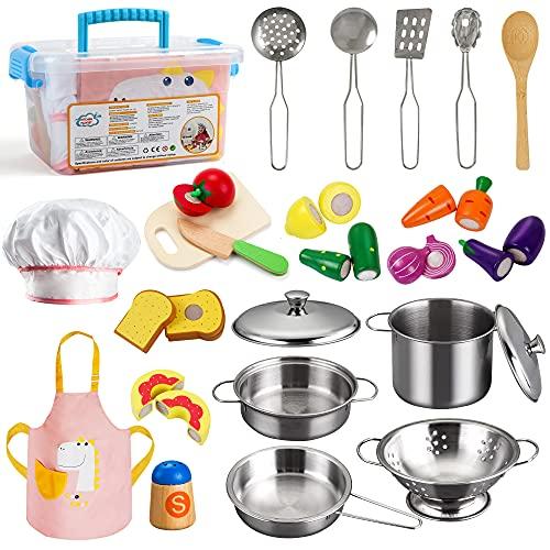 TIGERHU Jouets de Cuisine en Bois pour Enfants, 25 Pièces Accessoire Cuisine Enfant, Bouteille de Fruits et d'épices en Bois, Jouets Lducatifs Cadeau pour Enfants