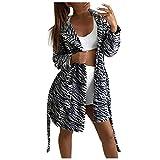 Peignoir de Bain Femme, Peignoir Long avec Capuche Personnalisé Chaud Ultra-Doux Robe de Chambre Motif Zèbre Tie-Dye Pyjama