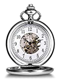 Hicarer Vintage Analog Mechanical Pocket Watch with Chain (Silver)