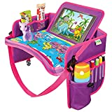 US kids Car Seat Travel Tray Pink - Carseat Organizer w/Dry Erase Board - Large Tablet & Cup Holder - Waterproof Food & Snack kids Lap Tray Table - Road Trip Activities Toddlers & Big Kids for Years