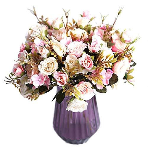 DXM Realistische Aussehen Rosen, kleine Maria Rosen, Rose Rosen Künstliche Blumen für Home Weiche Dekoration Gefälschte Blumen Hochzeit Seidenblumensträuße (blau) (Color : Pink)