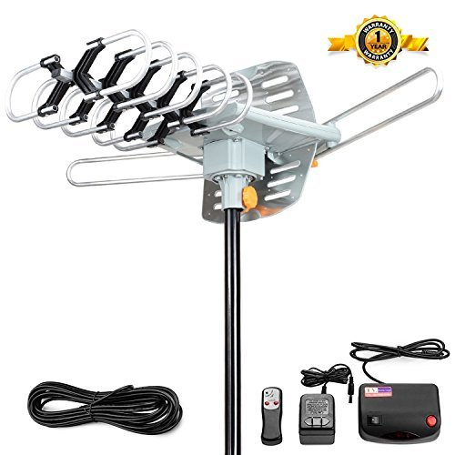 Outdoor Amplified HDTV Antenna Digital TV Antenna 150 Miles Range 360 Degree Rotation 2 TV Support UHF/VHF Signal with 38FT Coax Cable and Wireless Remote controller by Ailuki