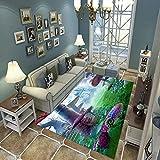 Alfombra Suave, Moderno Estilo Decoración Alfombras, Niños Gateando Manta, Arte De Impresión 3D Seta De Dibujos Animados, 120(H)X170(W)Cm Moqueta Para Dormitorio Y Salón O Habitación Infantil