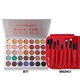 Paleta de sombras de ojos de 35 colores mate brillante altamente pigmentado, resistente al agua, paleta de sombras de ojos + 7 brochas de maquillaje de color rojo con bolsa