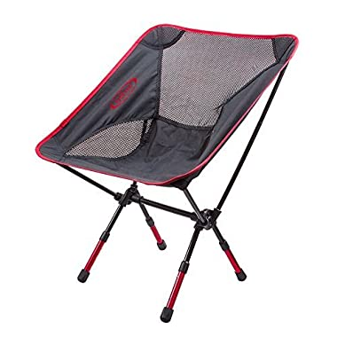 G4Free Lightweight Portable Chair Outdoor Folding Backpacking Camping Chairs For Sports Picnic Beach Hiking Fishing (Adjustable Red)