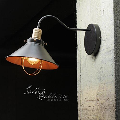 Design Wandlampe Schwarz Kupfer Industrie Look LOFT Wandleuchte Wohnzimmer Treppenhaus