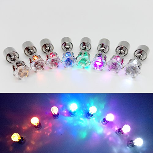 WandLee LED-Ohrringe in Kronenform, Leuchtend, Leuchtend, Leuchtend, blinkend, für Tanz, Party, Fan, Club, Accessoires