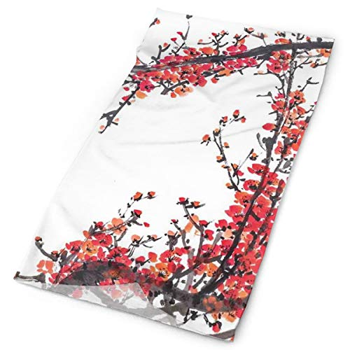 GUUi Headwear Headband Head Scarf Wrap Sweatband,Japanese Cherry Blossom Sakura Branch with Brushstrokes Artistic Image Print,Sport Headscarves for Men Women