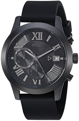 GUESS Comfortable Black Stain Resistant Silicone Chronograph Watch with Date. Color: Black (Model: U1055G1)