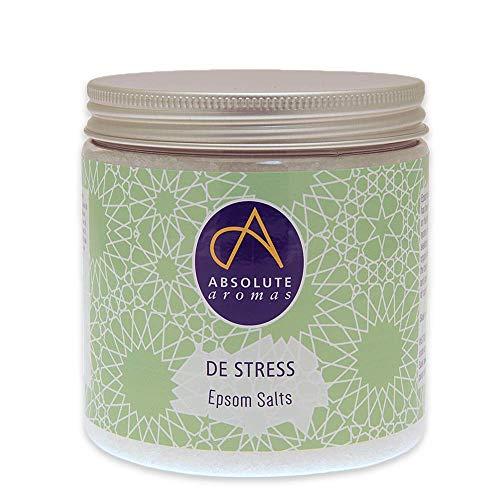 Absolute Aromas Sel de Bain Anti-Stress Epsom 575g - Sulfate de magnésium infusé d'huiles essentielles pures à 100% - Huiles de bergamote, d'encens, de rose, de jasmin et de lavande