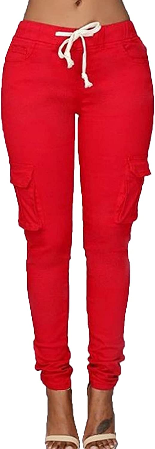Women's Solid Color Drawstring Skinny Pants Multi Pocket Stretch Cargo Pant Ladies Slim Elastic Waist Casual Trousers (Small,Red)