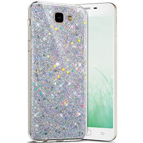Coque Samsung Galaxy J7 Prime 2016,Étui Galaxy J7 Prime 2016 Coque Glitter Brillant Paillettes Diamant Silicone Transparent Clear Ultra Mince Gel TPU Souple Antichoc Housse Galaxy J7 Prime 2016,Argent