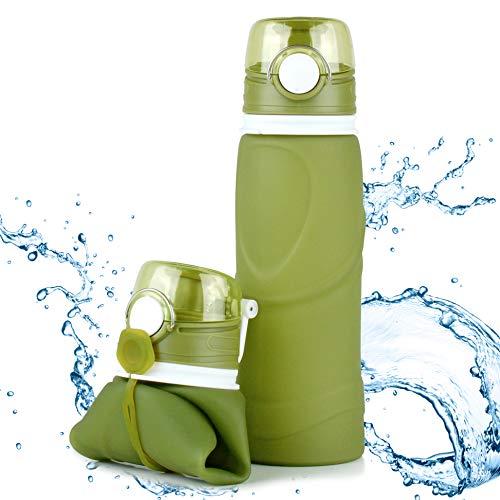 TROIKA Botella de silicona plegable | Capacidad: 750 ml | Enrollable y antigoteo | Para deportes al aire libre, escuela y camping | Sin BPA | Silicona de grado médico | Color: Verde