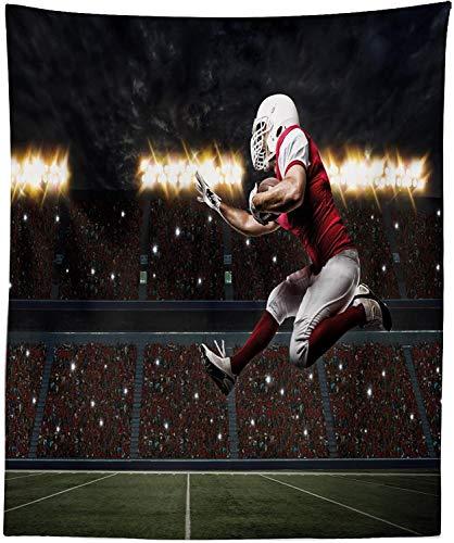 Tapiz deportivo, jugador de fútbol con uniforme rojo corriendo en un estadio profesional, decoración de tela para colgar en la pared para dormitorio, sala de estar, dormitorio, 23 'x 28', verde oliva