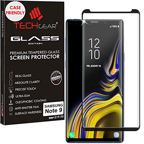 TECHGEAR Screen Protector for Galaxy Note 9 - [Case Friendly] 3D GLASS Edition Tempered Glass Screen Protector Guard Cover Compatible with Samsung Galaxy Note 9 (Black)