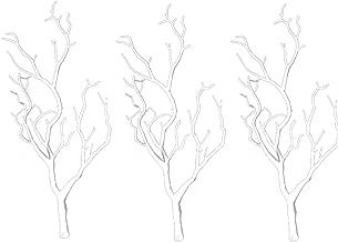 3 قطع من أغصان الشجر الصناعية المجففة والأفرع البلاستيكية تشبه قرون القرون النباتية الحقيقية على شكل فرع للزينة (أبيض)