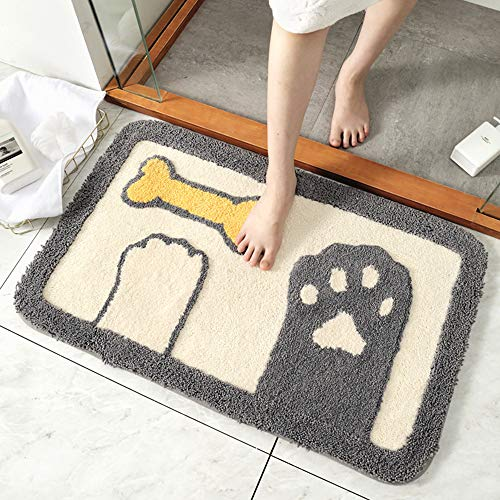 Nileco Cozy Non Slip Bath Mat,Rectangle Blended Entrance Mat,Easy to Clean Washable Rug,For Bathroom Doorway Hallway