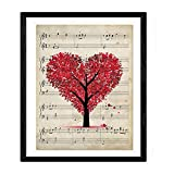 Nacnic Lámina para enmarcar Arbol corazón sobre partitura Láminas Decorativas para Pared. Papel 250 Gramos