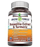 Amazing Formulas Boswellia Extract & Turmeric 1200mg per Serving Veggie Capsules - Supports Muscle, Joint & Connective Tissue Health, Heart & Digestive Function, Inflammation Response* (120 Count)