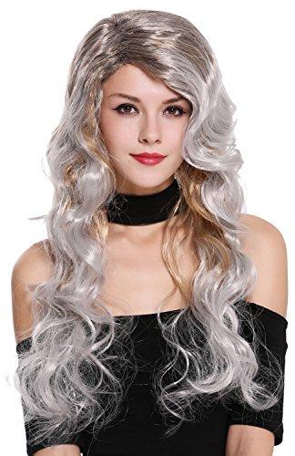WIG ME UP- 91577 Peluca Mujer Carnaval Halloween Muy Largo Mezcla Colores Salvajes,Rubio Gris Negro Diva Vamp