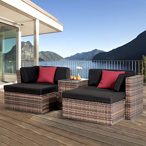 Mecor 5 Pieces Patio Furniture Sets, All-Weather Outdoor Sectional Patio Sofa Set, Wicker Rattan Patio Conversation Set with w/Ottoman, Glass Table, Black Cushions & Red Pillow, Brown