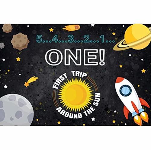 Leowefowa 3x1,8m Vinilo Baby Shower Telon de Fondo 1er cumpleaños Bebé Telón de Fondo del Espacio Exterior Cohete Fondos para Fotografia Fiesta Bebé Infantil Recién Nacido Photo Props Booth