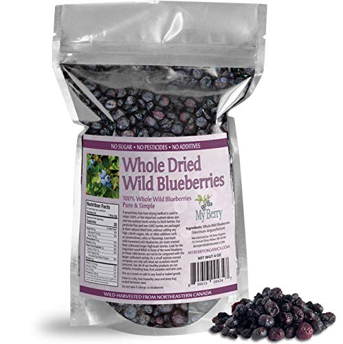 Dried Wild Blueberries, No Added Sugar, No Pesticides, Not Cultivated Berries, Woman-Owned Small Company