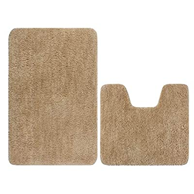 "Bath Rugs Set, Famibay 2 Pieces Microfiber Soft Shaggy Non Slip Bathroom Shower Mats 32""x20"" and U-Shaped Contour Toilet Floor Rug 18""x20"" (2 Piece, Camel)"