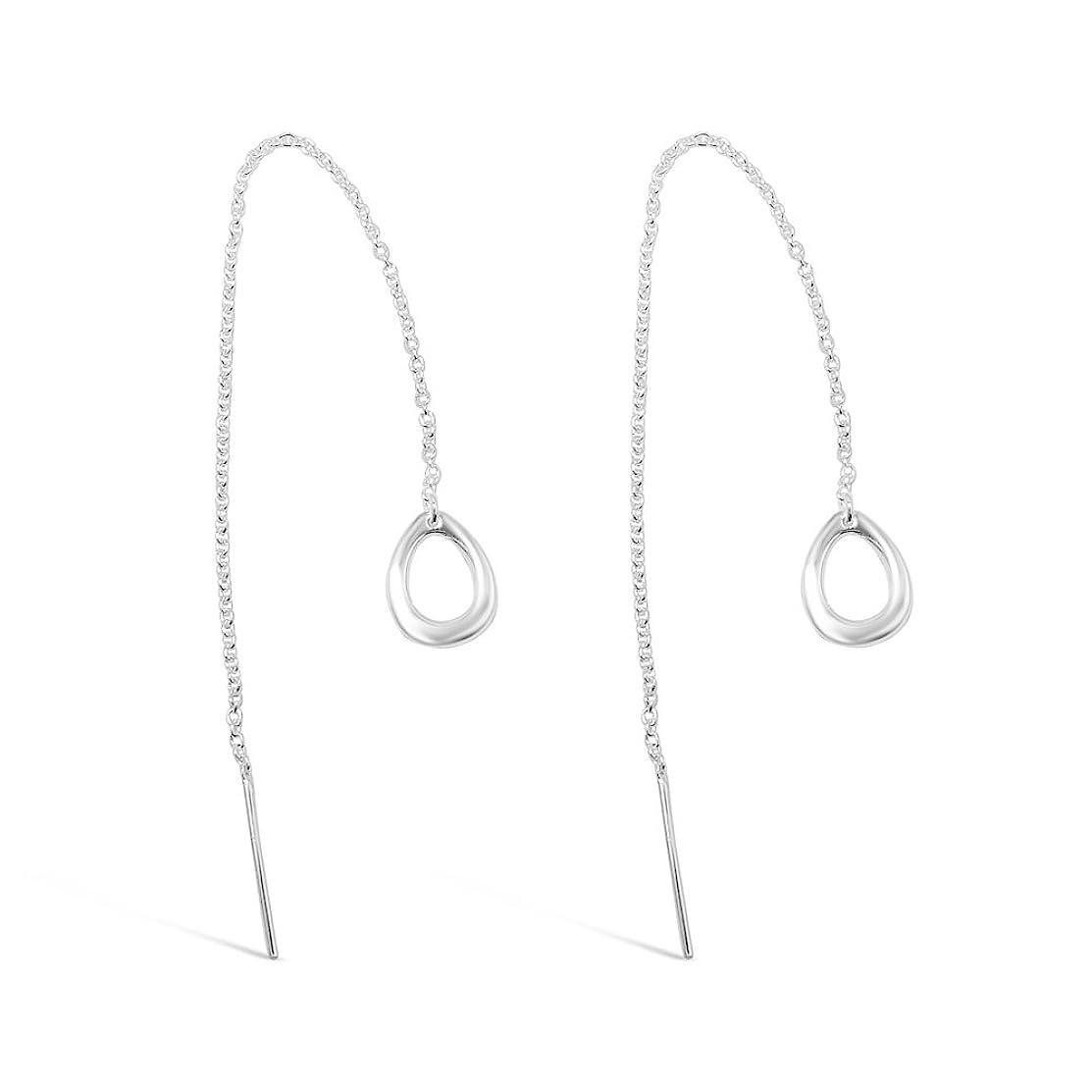 925 Solid Sterling Silver Long Dangling Teardrop Threader Hoop Earrings, Tall Dangle Circle Chain Jewelry