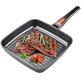 FAVIA Grill Pan with Removable Handle Nonstick 10 Inch Square Skillet for Stove Top Induction Compatible Oven Safe Dishwasher Safe PFOA PFOS PFAS Free (10.2'' Grill Pan)