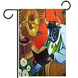 Bandera de jardín vertical de doble cara Decoración al aire libre del patio,toro vaca libro silla de mimbre