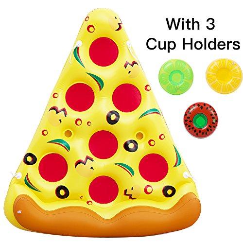 ThinkMax 6 x 5 Fuß riesige aufblasbare Schwimmflöße für Pizzapools aus PVC, aufblasbares Schwimmspielzeug für den Außenpool, Floatie Lounge-Spielzeug für Kinder und Erwachsene