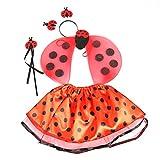 BESTOYARD Déguisement de Coccinelle Costume Ailes de Fée Baguette Serre-tête et Tutu Jupe 4 Pièces